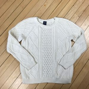 GAP Off White Cable Knit Crew Neck Sweater